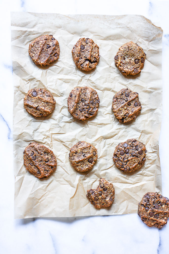 flourless chocolate chip walnut cookies