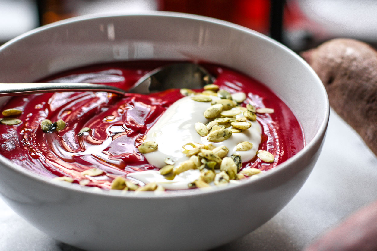 beet sweet potato soup