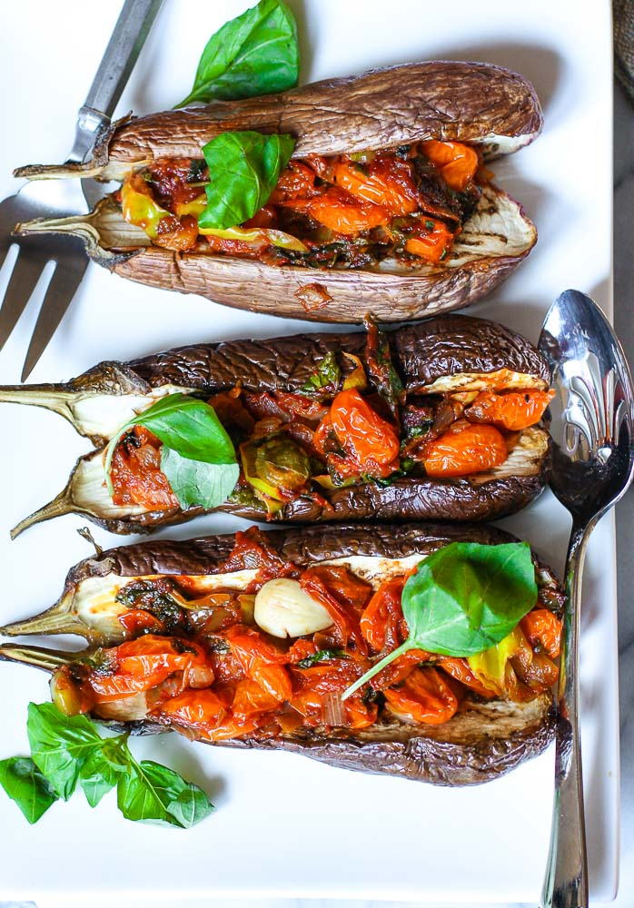 vegan stuffed eggplant