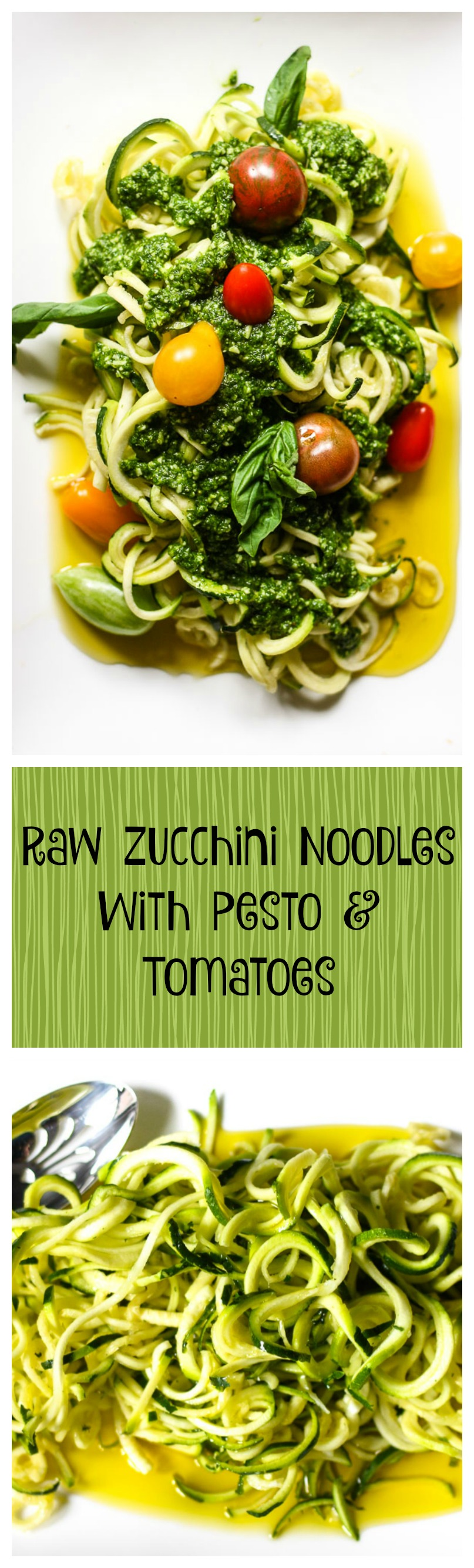 raw zucchini noodles with pesto and tomatoes